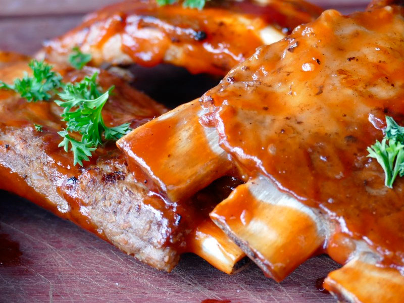 Costillas al horno con glaseado de whisky